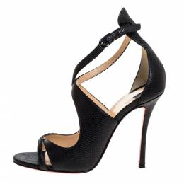 Christian Louboutin Black Lizard Embossed Leather Malefissima Ankle Strap Sandals Size 36.5 320747