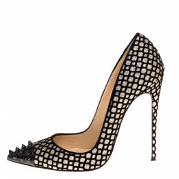 Christian Louboutin Floque Glitter And Patent Spike Geo Pumps Size 38 320164