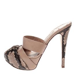 Gina Brown/Beige Python Leather Platform Sandals Size 37 319031