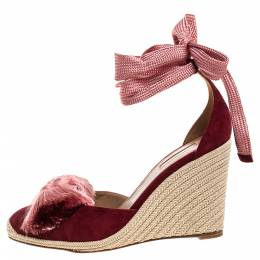 Aquazzura Red Suede Leather Lotus Blossom Espadrille Wedge Ankle Wrap Sandals Size 40 322847