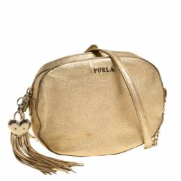 Furla Metallic Gold Leather Crossbody Bag 320600