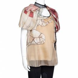 Prada Beige Silk Organza Girl Appliqued Sheer Blouse L 320750
