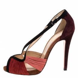 Christian Louboutin Multicolor Suede Criss Cross Ankle Strap Sandals Size 38 321808