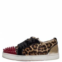 Christian Louboutin Multicolor Leopard Print Pony Hair And Patent Leather Louis Junior Spikes Sneakers Size 37.5 321377