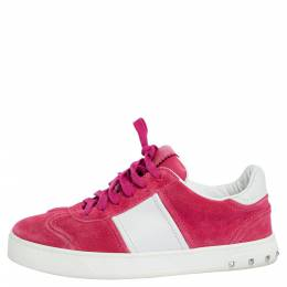 Valentino Pink/White Leather Flycrew Low Top Sneakers Size 37 320143
