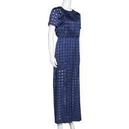Diane Von Furstenberg Navy Blue Check Patterned Satin Jumpsuit M 320387
