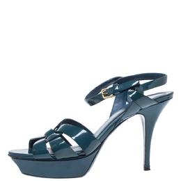Yves Saint Laurent Teal Patent Leather Tribute Platform Sandals Size 38.5 320328