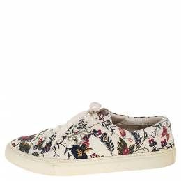 Tory Burch White Floral Print Leather Amalia Low Top Sneakers Size 39.5 318899