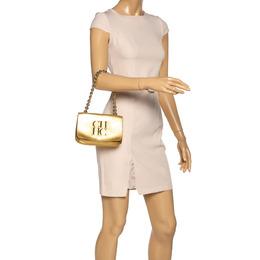 Carolina Herrera Metallic Gold Leather Flap Chain Bag 321958