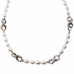 Tiffany & Co.Vintage Cultured Pearl Figure 8 Station Silver Necklace 321953