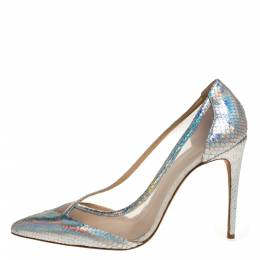 Alexandre Birman Metallic Silver Python And Mesh Pointed Toe Pumps Size 41 320153