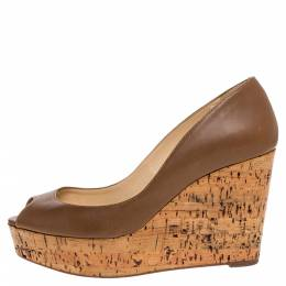 Christian Louboutin Brown Leather Coroclic Cork Wedge Peep Toe Platform Pumps Size 36 321600