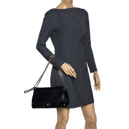 Carolina Herrera Black Leather Flap Shoulder Bag 319463
