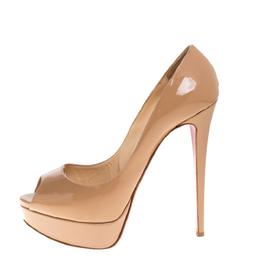 Christian Louboutin Beige Patent Leather Lady Peep Toe Platform Pumps Size 39.5 320234