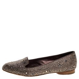 Gina Brown Crystal Embellished Satin Ballet Flats Size 38.5 321613