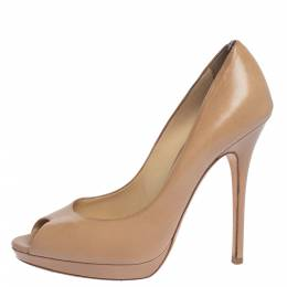 Jimmy Choo Beige Leather Platform Peep Toe Pumps Size 39.5 319259