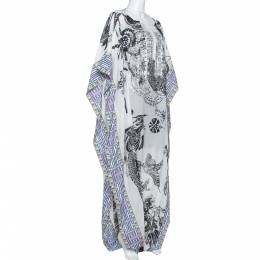 Just Cavalli White Printed Cotton Embellished Oversized Cover Up S 320955