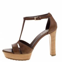 Tod's Brown Leather T-strap Platform Ankle Strap Sandals Size 37.5 320159
