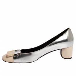 Roger Vivier 2 Tone Leather Buckle Square Toe U-Cut Heel Pump Size 38 426267