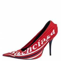 Balenciaga Red Fabric And Leather Knife Logo Pointed Toe Pumps Size 37 320586