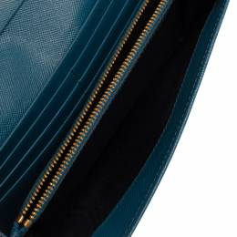 Prada Blue Saffiano Lux Leather Flap Continental Wallet 322503