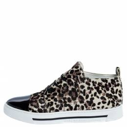 Marc Jacobs Black/Brown Animal Print Pony Hair and Patent High Top Sneakers Size 38 320223