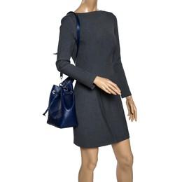 Furla Blue Leather Stacy Drawstring Bucket Bag 319295