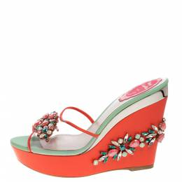 Rene Caovilla Tri Color PVC And Leather Trim Jewel Embellished Wedge Slide Sandals Size 37 321455