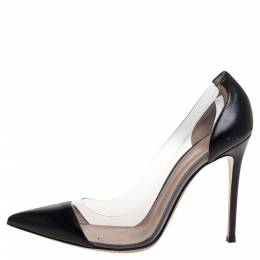 Gianvito Rossi Black Leather And PVC Plexi Pointed Toe Pumps Size 41 320731