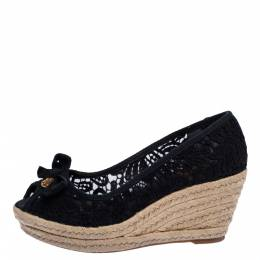 Tory Burch Black Floral Embroidered Fabric Jackie Peep Toe Espadrilles Wedge Size 39 318918