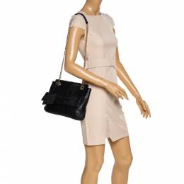 Carolina Herrera Black Leather Audrey Shoulder Bag 320901