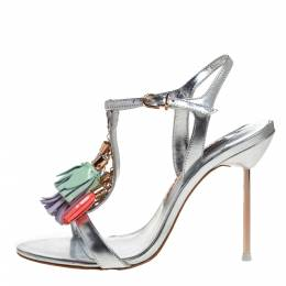 Sophia Webster Silver Leather Layla Fringe Tassel Sandals Size 37.5 321477