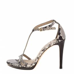 Tory Burch Grey Python Embossed Leather Ankle Strap Sandals Size 36.5 321479