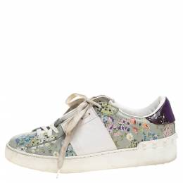 Valentino White Floral Printed Leather Open Sneakers Size 37.5 320863