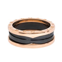 Bvlgari B.Zero1 Black Ceramic 18K Rose Gold 2-Band Ring Size 62 320865