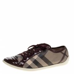 Burberry Beige/Burgundy Nova Check Canvas and Patent Leather Lace Up Sneakers Size 40 320140