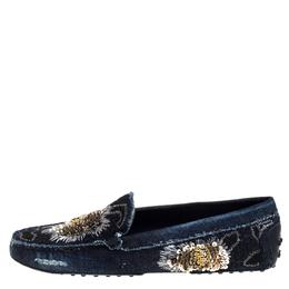 Tod's Blue Denim Fabric Sequin Embellished Slip On Loafers Size 40.5 322786