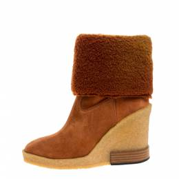 Tod's Brown Shearling And Suede Leather Wedge Ankle Boots Size 37 322808