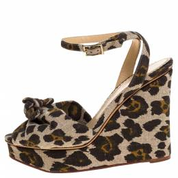 Charlotte Olympia Brown/Beige Printed Canvas Fabric Bow Platform Ankle Strap Sandals Size 38 320790