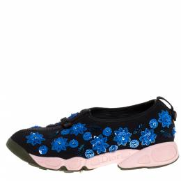 Dior Black Mesh Fusion Crystal Embellished Slip On Sneakers Size 39.5 320663