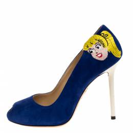 Charlotte Olympia Blue Suede Archie Comic Peep Toe Pumps Size 37 318600