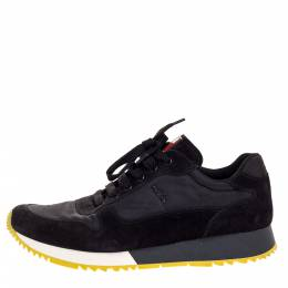 Prada Sport Black Suede And Nylon Lace Up Sneakers Size 41 316953