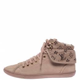 Louis Vuitton Beige Monogram Tweed & Nubuck Brea Sneaker Boots Size 38.5 318837