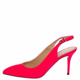 Charlotte Olympia Neon Pink Leather Slingback Court Pumps Size 39 318615