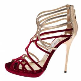 Jimmy Choo Red Velvet And Leather Maury Cage Sandals Size 38.5 316263