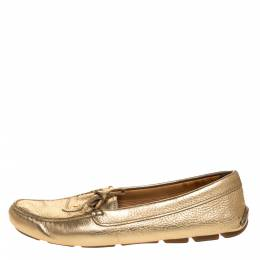 Prada Metallic Gold Leather Bow Slip On Loafers Size 37.5 316277