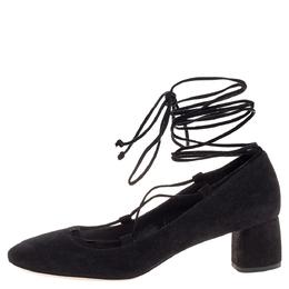 Miu Miu Black Suede Lace Up Block Heel Pumps Size 36 318841