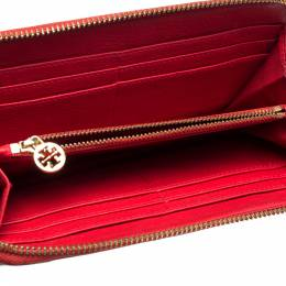 Tory Burch Red Leather Kipp Zip Around Continental Wallet 318847