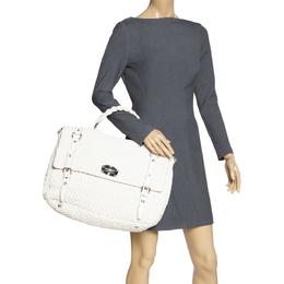 Miu Miu White Matelasse Nappa Leather Turnlock Top Handle Bag 318192