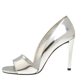 Prada Metallic Silver Leather Open Toe D'Orsay Sandals Size 37 318806